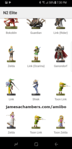 Populated N2 Elite Amiibo backups inside the Android app