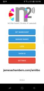 N2 Android app after scanning N2 Elite chip