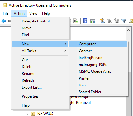 Active Directory New Computer (Menu)