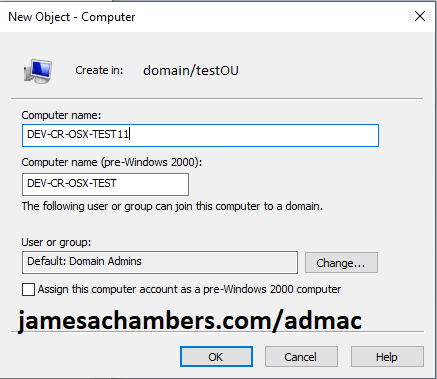 Active Directory New Computer Dialog