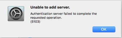 Mac AD Plugin Error 5103