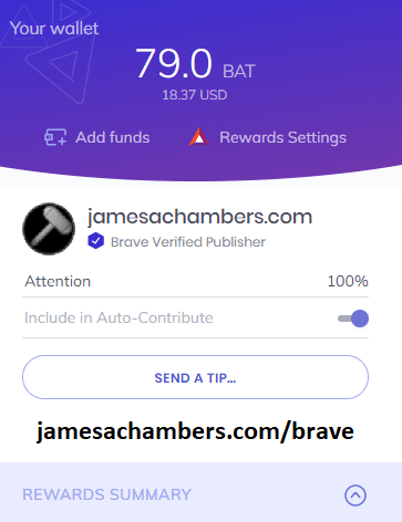 Brave Browser's built In wallet with a 79.0 BAT token balance