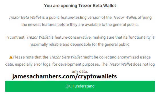 Trezor Beta Wallet Warning Dialog Box