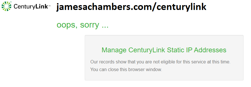 CenturyLink Static IP Fail