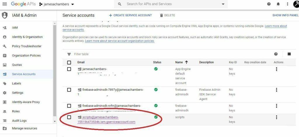 Google Sheets - API Service Accounts Menu
