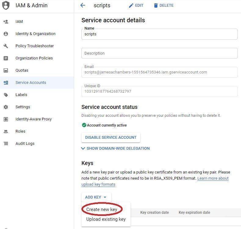 Google Sheets - Create API Key