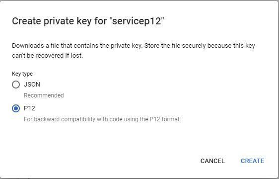 Google Service Account - Create P12 Key