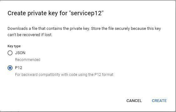 Google Service Account - Create P12 Key