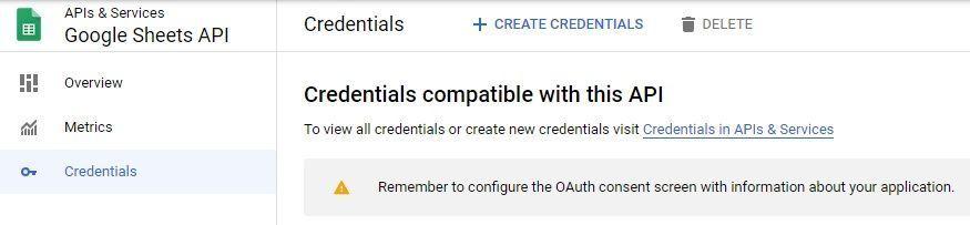 Google Sheets API Credentials