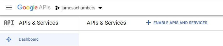 Google Sheets Dashboard - Enable APIs and Services