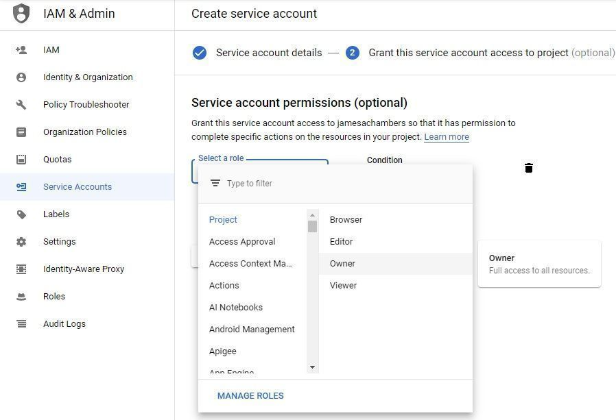 Google Sheets API - Service Account Roles