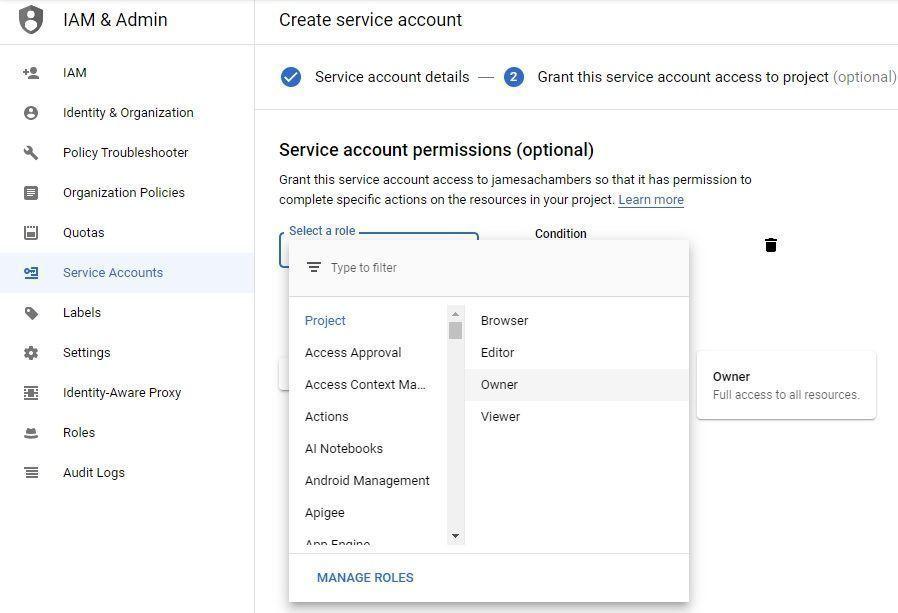 Google Sheets API - Service Account Roles