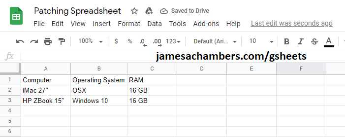 PowerShell Generated Google Sheet