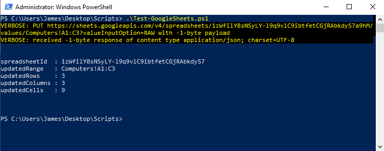 PowerShell - Test of uploading CSV to Google Sheets