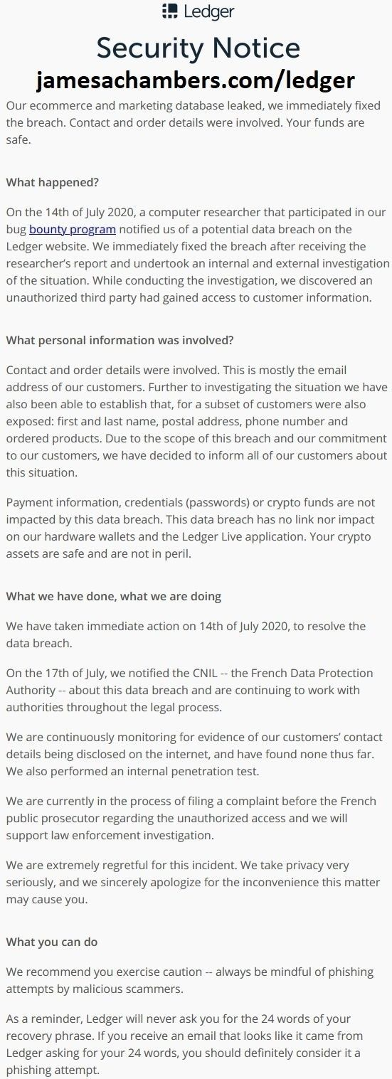 Ledger Security Notice #1 - July 2020