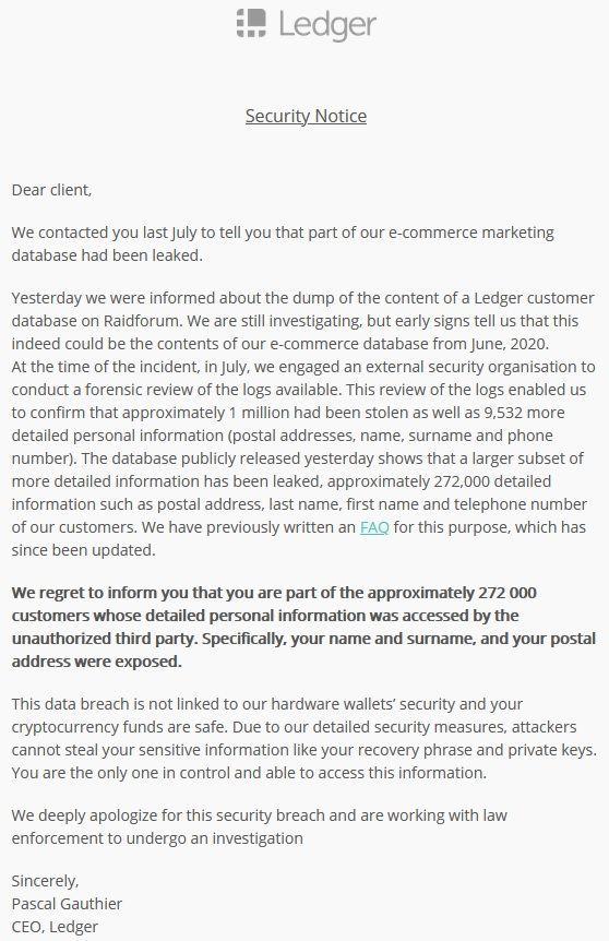 Ledger Security Notice #2 - December 2020